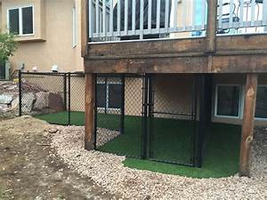 our dog39s quotdenquot under the deck with dog turf a ramp from With under deck dog kennel