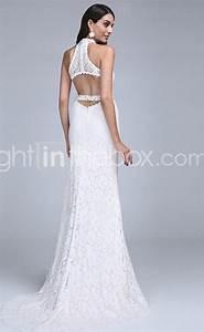 white lace halter neck long mermaid wedding dress with With white halter wedding dress