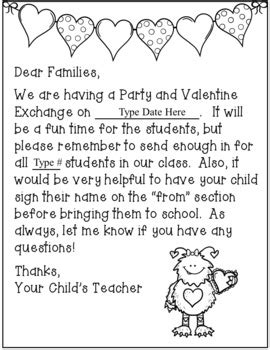 Valentine Day Party Parent Letters