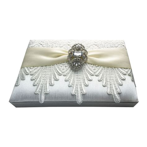 hinged lid lace wedding box  ivory cream  brooch
