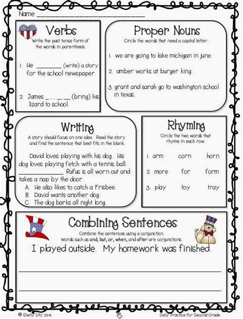 language arts daily review for second grade free sle