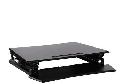 kogan height adjustable standing desk riser medium black