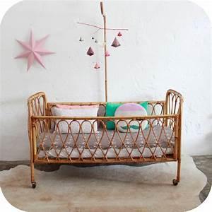 Lit Bebe Rotin : mobilier vintage lit b b berceau rotin vintage ann es 50 atelier du petit parc ~ Teatrodelosmanantiales.com Idées de Décoration