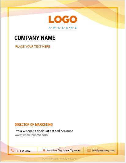 business letterhead template word 10 best letterhead templates word 2007 format microsoft 20753 | Business letterhead 4 CRWC