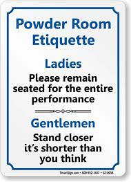 Bathroom Ladies Room Etiquette Signs