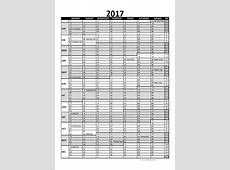 2017 Excel Calendar for Project Planning Free Printable