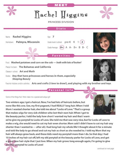 National American Miss Contestant Resume gomolka editorial services promotional materials