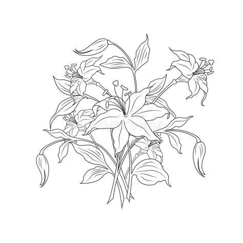 boeket bloemen in zwart witte kleuren vectorillustratio vector illustratie illustratie