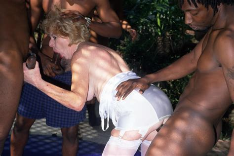 Horny Old Granny In Interracial Gangbang Mature Action