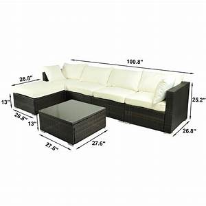 Deluxe 6pc outdoor rattan wicker sofa garden sectional for Outdoor sectional sofa dimensions