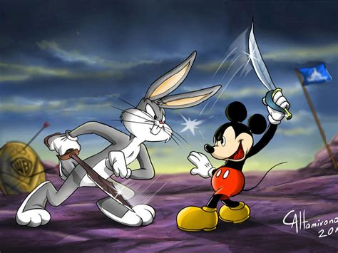 cartoons bugs bunny mickey mouse battle fencing game