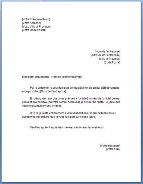 modèle lettre préavis zone tendue modele preavis de depart travail document