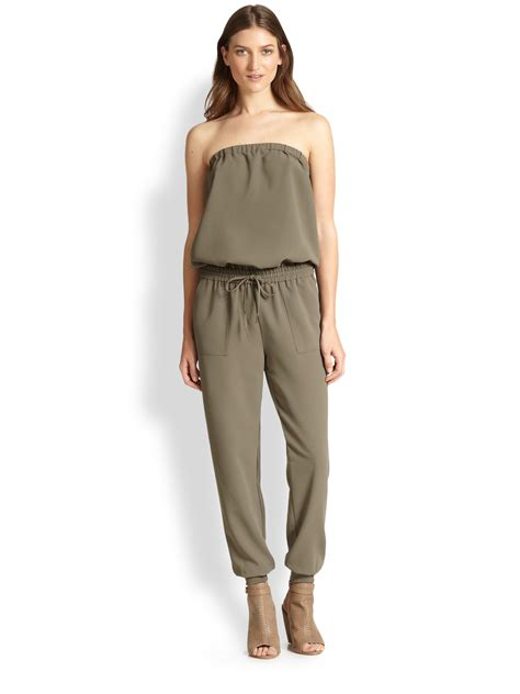 joie jumpsuit joie fairley strapless jumpsuit in brown fatigue lyst