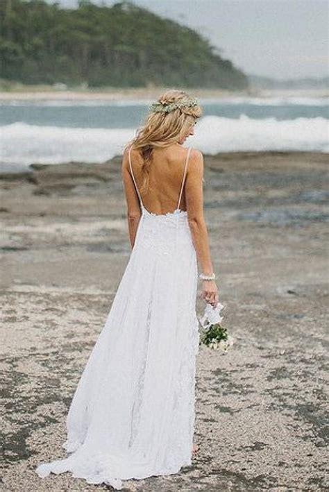 Boho Summer Beach Wedding Dresses A Line Spaghetti Straps