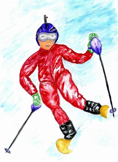 Skier Illustration Watercolor Winter Sport Painted Hand