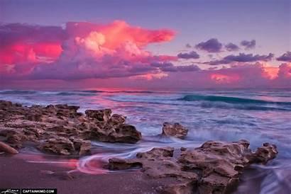 Beach Florida Sunrise Pink Velvet Jupiter Park