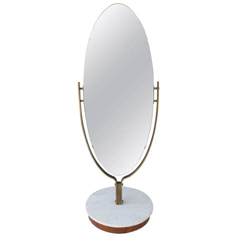 floor mirror oval oval dressing mirror brass frame on marble base at 1stdibs