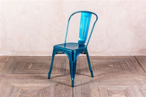 metal dining chairs tolix style in blue peppermill interiors