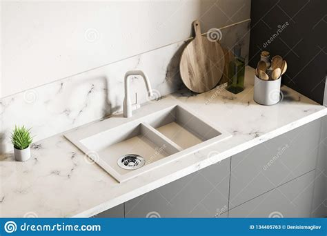 kitchen sink with marble top white marble kitchen sink top view stock illustration