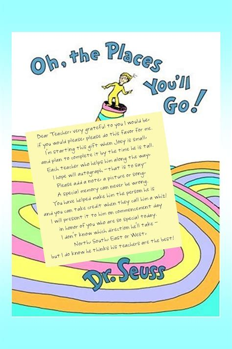 Hello everyone and good morning to all of you. Dr. Seuss Graduation gift for Joey   Kindergarten graduation gift, Graduation poems, Teacher