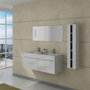meuble double vasque avec colonne dis980b blanc distribain With meuble vasque blanc