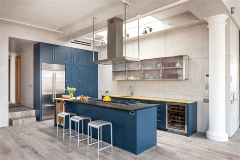 royal blue kitchen  light color floors   modern contemporary dream