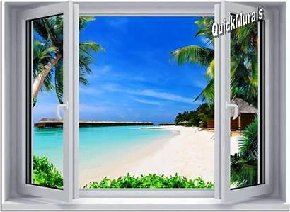Window Beach Wall Mural Canvas Stick Resort