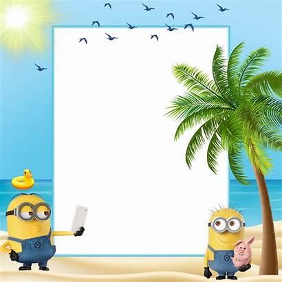 Minions Transparent Summer Clipart Frame Frames Beach