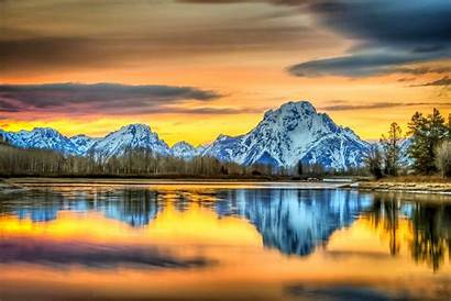 Sunset Landscape Mountain Wyoming Snowy Nature Sky
