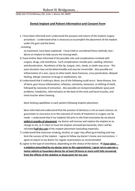 dental implant and patient information and consent form printable pdf