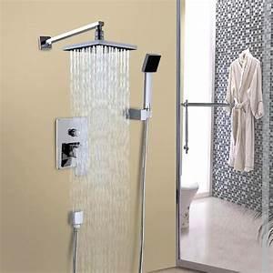 Cindy Bathroom Luxury Rain Mixer Shower Combo Set Wall