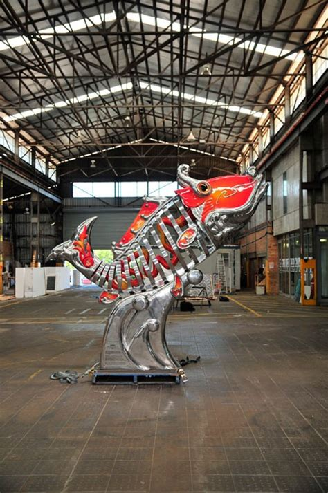 urban art projects reveals giant carp  brisbane