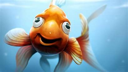 Funny 3d Cartoon Fish Backgrounds Gold Animated