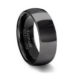 black mens wedding bands polished black tungsten wedding band mens black wedding ring