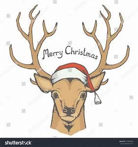 Christmas Deer Vector Illustration Reindeer Head Stock ...