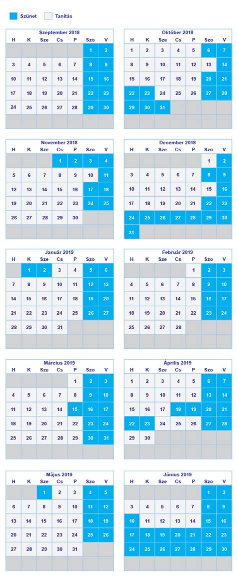 naptar hetekkel calendar printable holidays list
