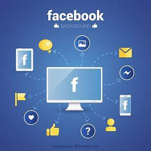 Facebook wallpaper with icons in flat design Vector | Free ...