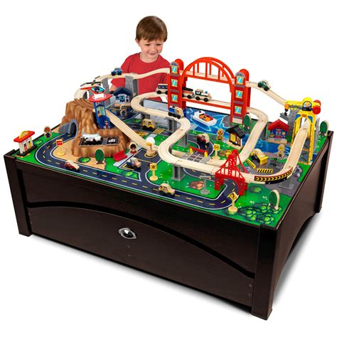 brio train table with drawers kidkraft metropolis train set table with trundle drawer