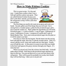 Reading Comprehension Worksheet  How To Make Eskimo Cookies