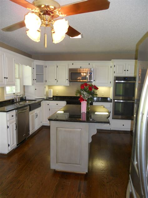 contrasting kitchen cabinets painted kitchen cabinets with contrasting island after 03 2555