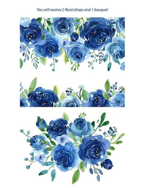 watercolor flowers clipart blue roses leaves branches