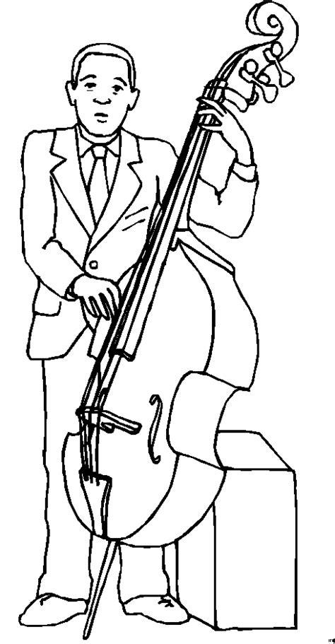 mann mit kontrabass  ausmalbild malvorlage musik