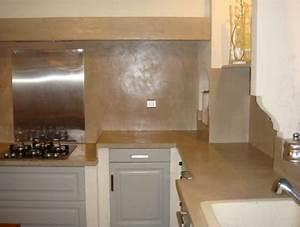 Béton Ciré Sur Plan De Travail : beton cire sur plan de travail cuisine en carrelage ~ Nature-et-papiers.com Idées de Décoration