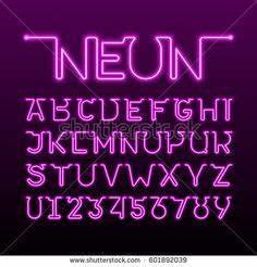 Free Blue neon alphabet vector Free vector