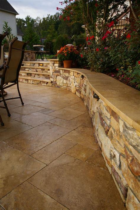 travertine cap  seat wall patio stones travertine