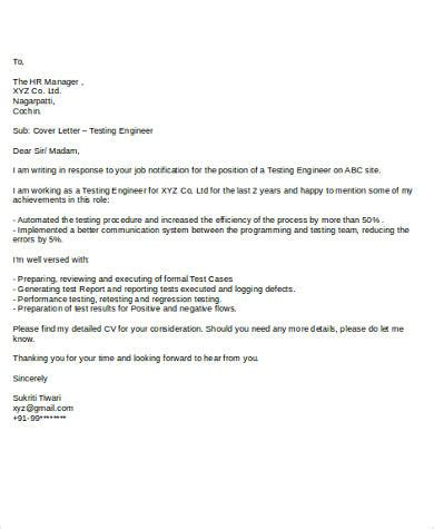 Cover Letter For Testing Resume by Cover Letter Sle For 7 Exles In Word Pdf