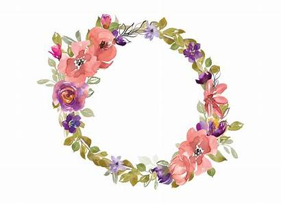 Wreath Watercolor Clipart Flower Flowers Purple Floral