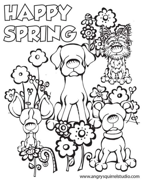 Happy Spring Coloring Page To Print For Kids Spring
