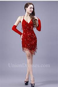 Sexy Backless Mini Red Sequin Fringe Sparkly Cocktail Prom ...