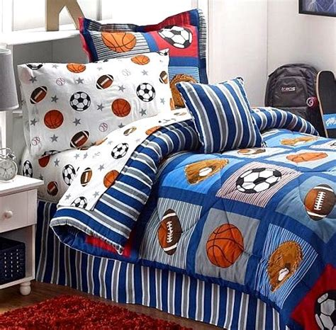 football comforter set boys sports patch football basketball soccer balls
